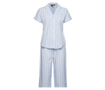 Lrl Notch Collar Capri Pj Set Pyjama Blau