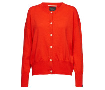 Cashmere Blend Relaxed Fit Cardigan Strickpullover Rot