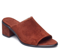 Town Mule Suede Sandale Mit Absatz Braun