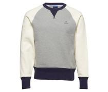 O1. Color Block C-Neck Sweat Langärmliger Pullover Creme