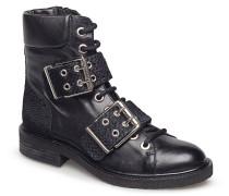 Boots Gefütterte Stiefelette Flacher Absatz Schwarz