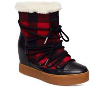 Trish Check Wool Boots Knöchelhohe Stiefel Rot