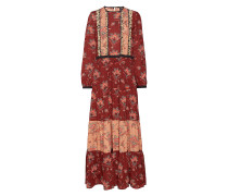 Mixed Print Maxi Dress With Ladder & Ruffle Details Maxikleid Partykleid Rot SCOTCH & SODA