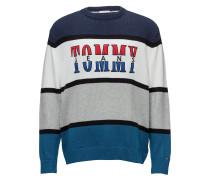 Tjm Retro Colorblock Pullover Strickpullover Rundhals Blau