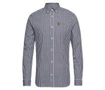 Ls Slim Fit Gingham Hemd Hemd Casual Blau