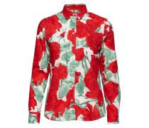 O1. Rose Voile Shirt Langärmliges Hemd Rot