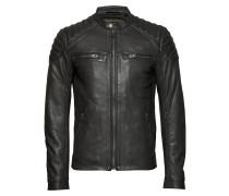 New Hero Leather Jacket Lederjacke Schwarz SUPERDRY