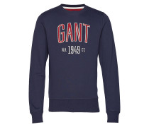 D1. Graphic C-Neck Sweat Langärmliger Pullover Blau