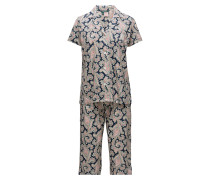 Lrl Notch Collar Capri Pant Pj Set
