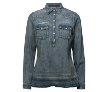 Denim Blouse With Over-Dye