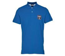 D1. Graphic Pique Ss Rugger Polohemd Kurzarm-Shirt Blau GANT