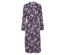 Flower Stripe P Long Dress