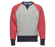 O1. Color Block C-Neck Sweat Langärmliger Pullover Rot