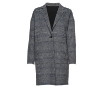 G1. Reversible Handstitched Coat Wollmantel Mantel Grau