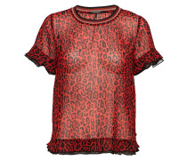 Mixed Print Top With Rib Neckline