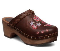 Leather Clogs Of Heart Mules Slipins Braun ODD MOLLY