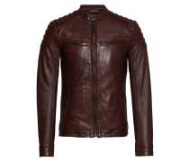 New Hero Leather Jacket Lederjacke Braun SUPERDRY