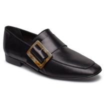 Vienna Black Nappa Loafers Flache Schuhe Schwarz FLATTERED