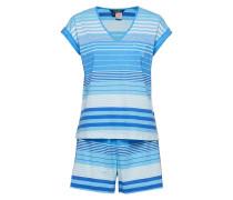 Lrl Dolman V-Neck & Boxer Pj Set Pyjama Blau