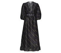 Silk Linen Dress Kleid Knielang Schwarz GANNI