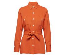 Twill Cargo Shirt With A Shell Fabric Belt Langärmliges Hemd Orange
