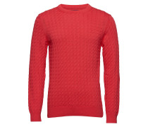 O1. Flat Cable Crew Strickpullover Rundhals Rot GANT