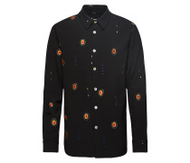 Max Shirt W. All Over Embroidery Hemd Casual Blau SOULLAND