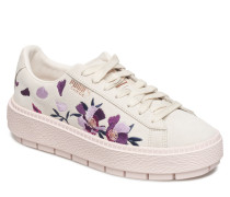 Suede Platform Trace Flowery Sneaker Plateau Creme