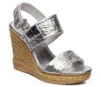 Lacey Metallic Crinkle Sandale Mit Absatz Espadrilles Silber