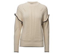 Pull With Ruffle & Cable Detailling Strickpullover Creme