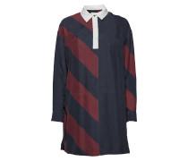 Tommy Icons Rugby Seidenkleid Ls Kleid Knielang Blau TOMMY HILFIGER