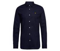 Ls Slim Fit Popeline-Hemd Hemd Casual Blau