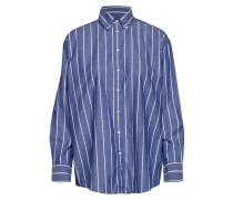 D1. Striped Chambray Shirt Langärmliges Hemd Blau