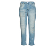 Cloé 241 High Ripped Straight Jeans Hose Mit Geradem Bein Blau FIVEUNITS