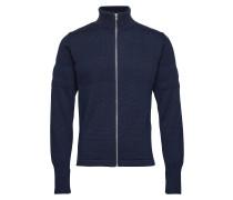 100% Wool Klemens Zip Cardigan Strickpullover Blau