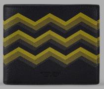 Brieftasche aus Leder mit Farbigem Zickzack-Print
