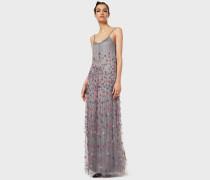 Langes Kleid mit Aufgestickten Blüten