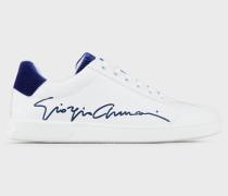 Sneakers aus Leder mit Giorgio Armani-signatur Und