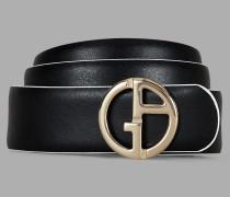Wendegürtel aus Leder mit Logo aus Metall