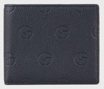 Klapp-portemonnaie aus Leder mit Geprägtem Logo