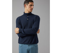 Pullover aus Kaschmir mit Knöpfen Am Kragen