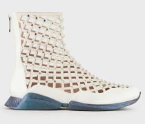 Hightop-sneaker aus Perforiertem Leder mit Strass