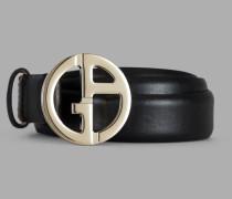 Gürtel aus Gekörntem Leder mit Ga-Leder aus Metall