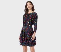 Kleid aus Satiniertem Krepp in Punktemuster Mit
