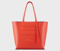 Shopper-tasche aus Leder mit Farblich Abgestimmter