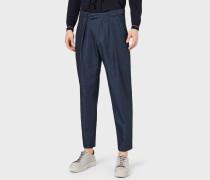 Hose mit Bundfalten aus Bequemem Leinen-denim