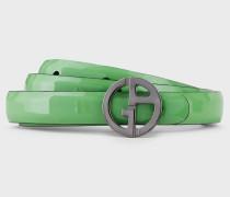Schmaler Wendegürtel aus Leder mit Rundem Logo