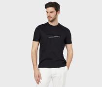 T-Shirt aus Pima-Baumwolle mit Flockdruck und Stickerei