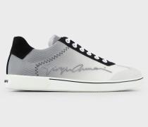 Sneaker aus Netzgewebe und Getöntem Satin