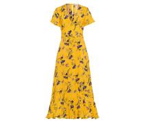 Volant Kleid mit Blumenprint Sonnengelb